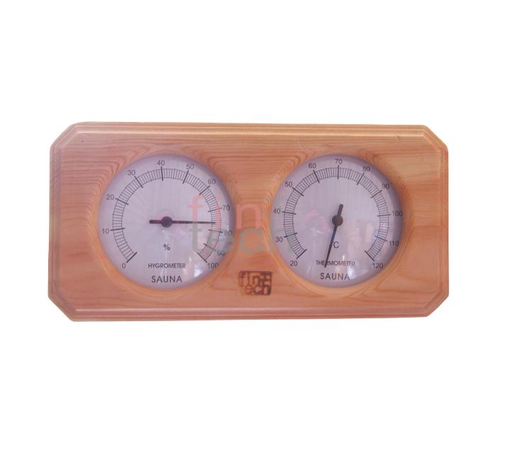 FINTECH - Sauna Termometre - Higrometre Kombine Ahşap Çiftli Fintech