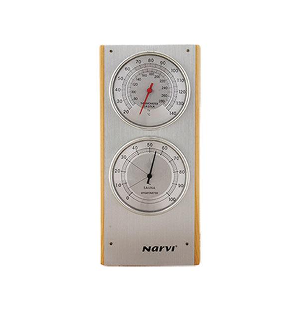 NARVİ - Narvi Termometre-Higrometre Ahsap Sauna Saati