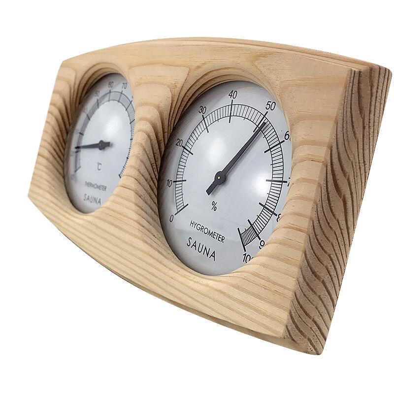 Poolline Sauna Higrometre Termometre Ahşap Çiftli