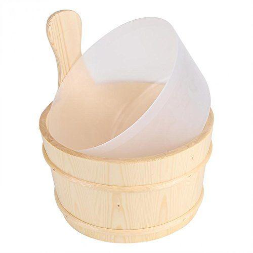 Poolline Sauna Kova Kepçe Takımı Beyaz Çam 4Lt